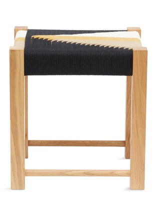 Main View - Click To Enlarge - JO ELBOURNE - Dart handwoven stool – Raw/Black/Gold/Sand Yellow