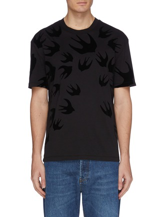 Main View - Click To Enlarge - MCQ ALEXANDER MCQUEEN - 'Swallow Swarm' velvet flock print T-shirt