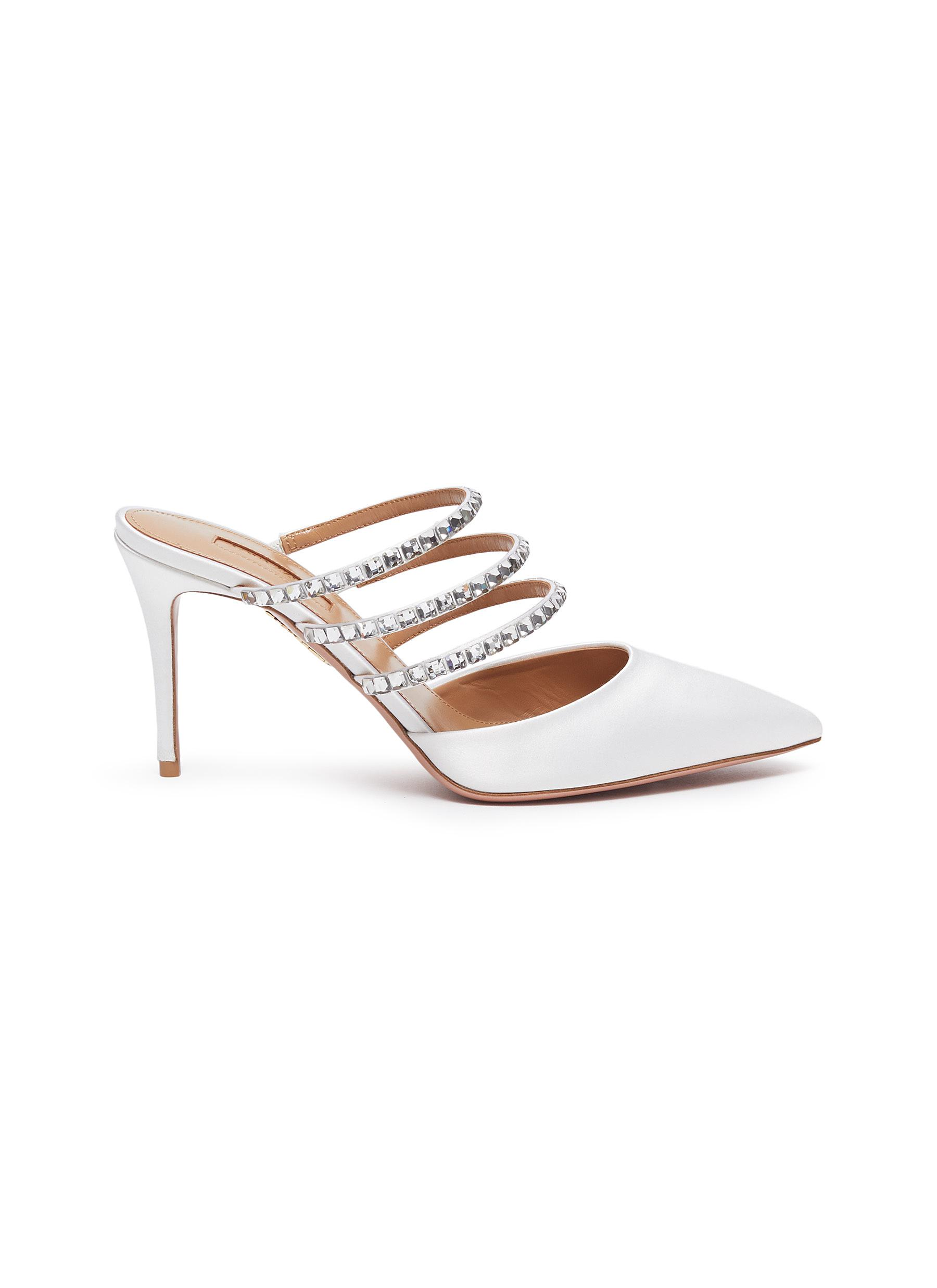 Donata Swarovski crystal strappy satin mules by Aquazzura
