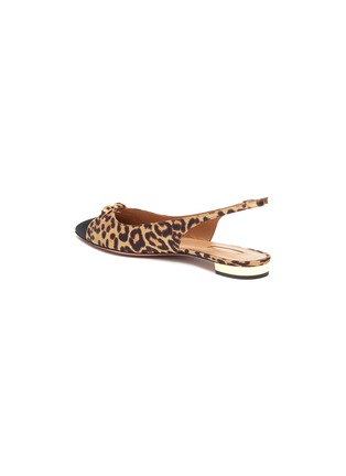 - AQUAZZURA - 'Mondaine' cutout knot jaguar print slingback flats