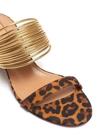Detail View - Click To Enlarge - AQUAZZURA - 'Rendez Vous' metallic strap jaguar print suede sandals