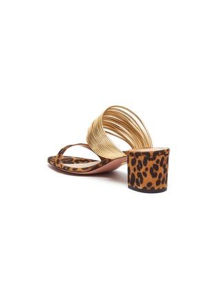- AQUAZZURA - 'Rendez Vous' metallic strap jaguar print suede sandals