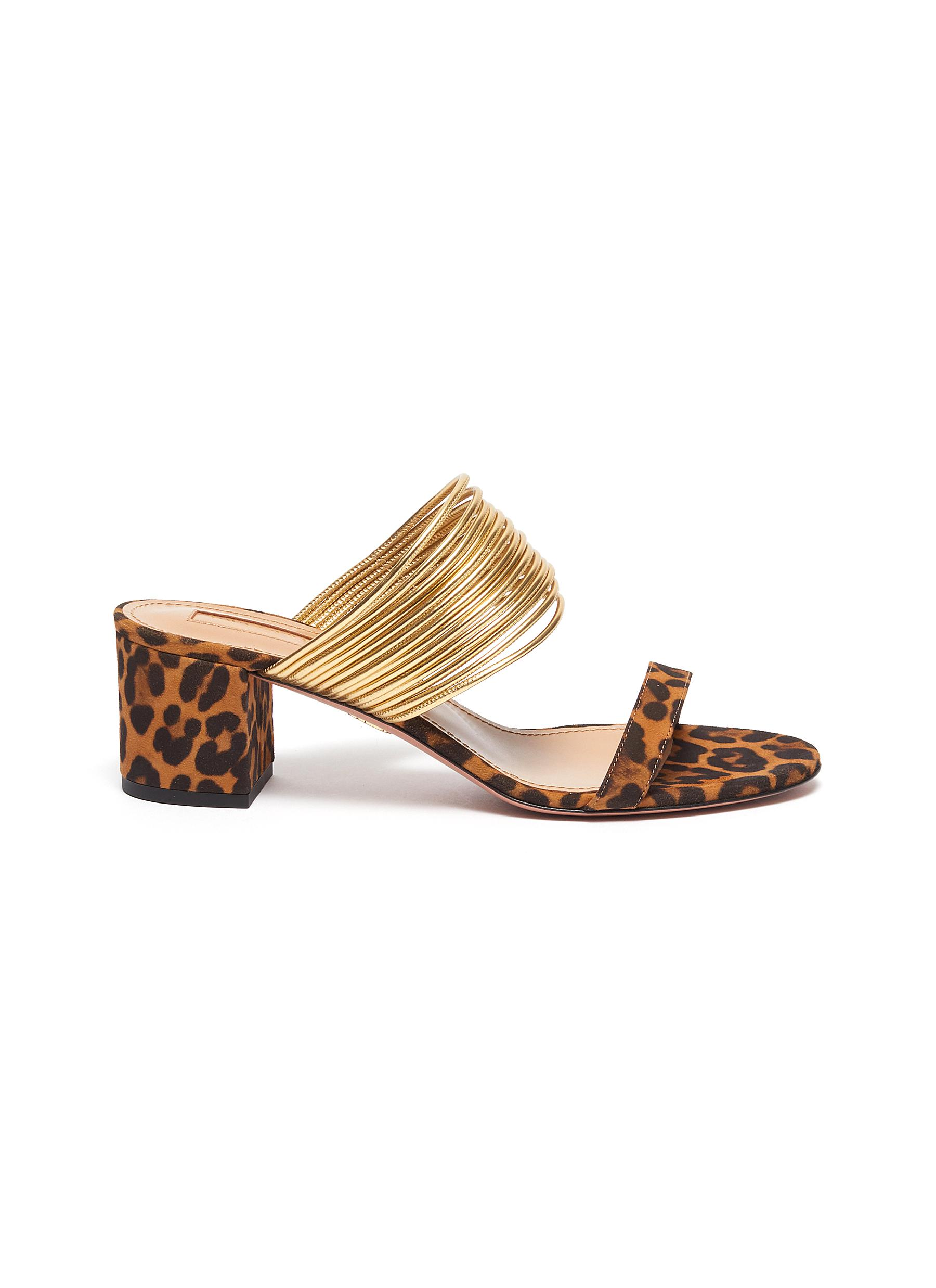 Rendez Vous metallic strap jaguar print suede sandals by Aquazzura