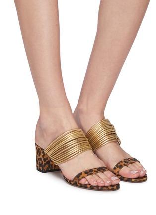Figure View - Click To Enlarge - AQUAZZURA - 'Rendez Vous' metallic strap jaguar print suede sandals