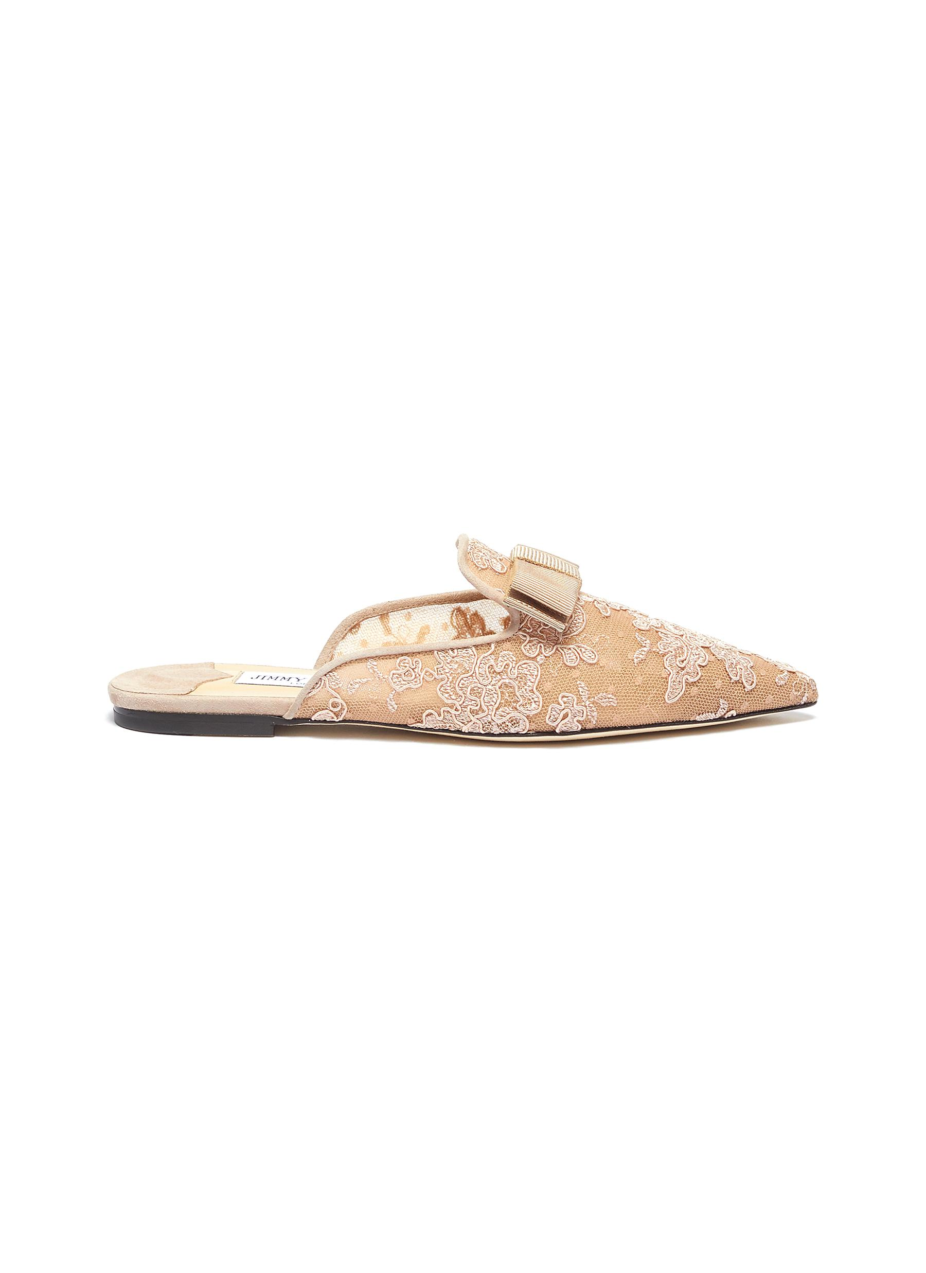 Galaxy bow mesh lace loafer slides by Jimmy Choo