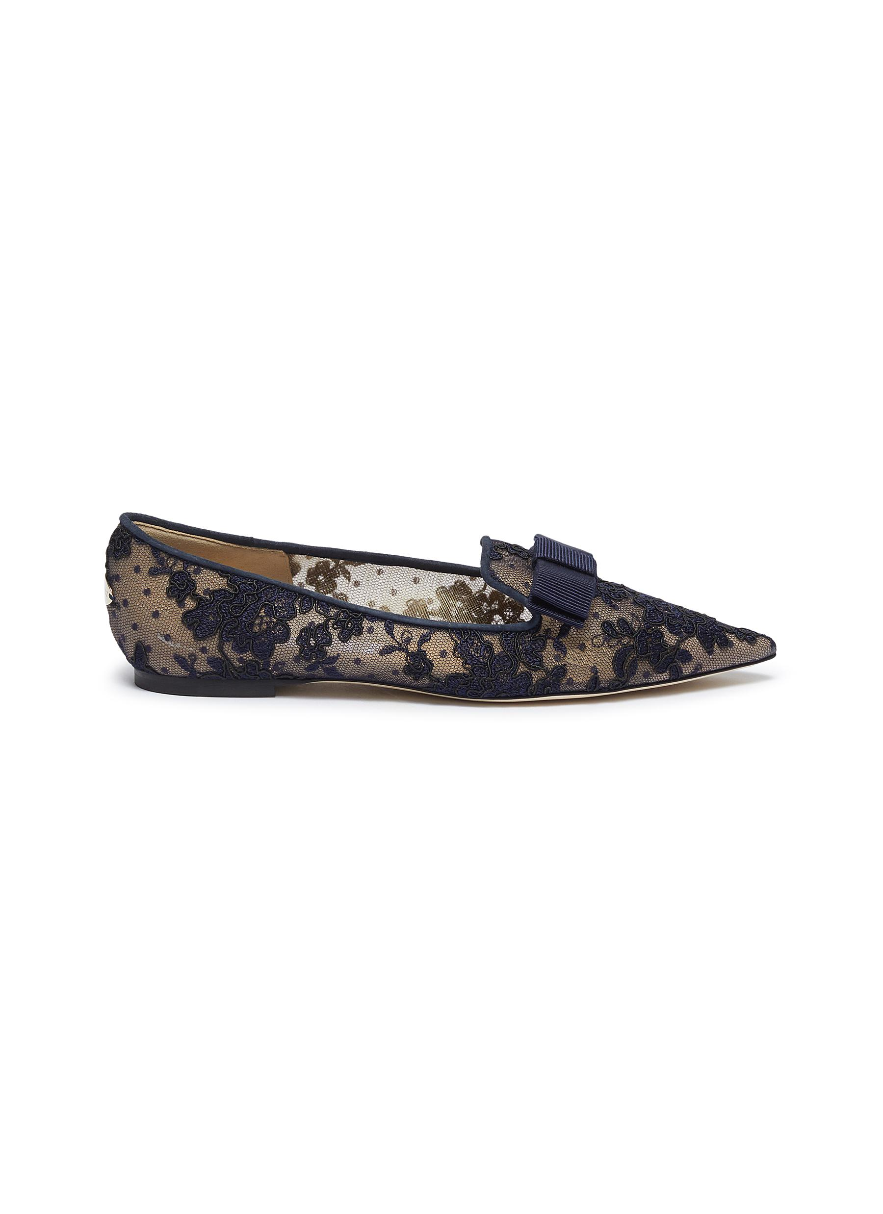 Gala floral lace loafers by Jimmy Choo