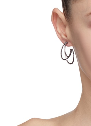 Figure View - Click To Enlarge - CZ by Kenneth Jay Lane - Cubic zirconia pavé hoop earrings