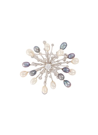 Main View - Click To Enlarge - CZ BY KENNETH JAY LANE - Fresh water pearl cubic zirconia starburst brooch