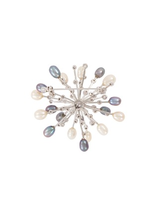 Figure View - Click To Enlarge - CZ BY KENNETH JAY LANE - Fresh water pearl cubic zirconia starburst brooch