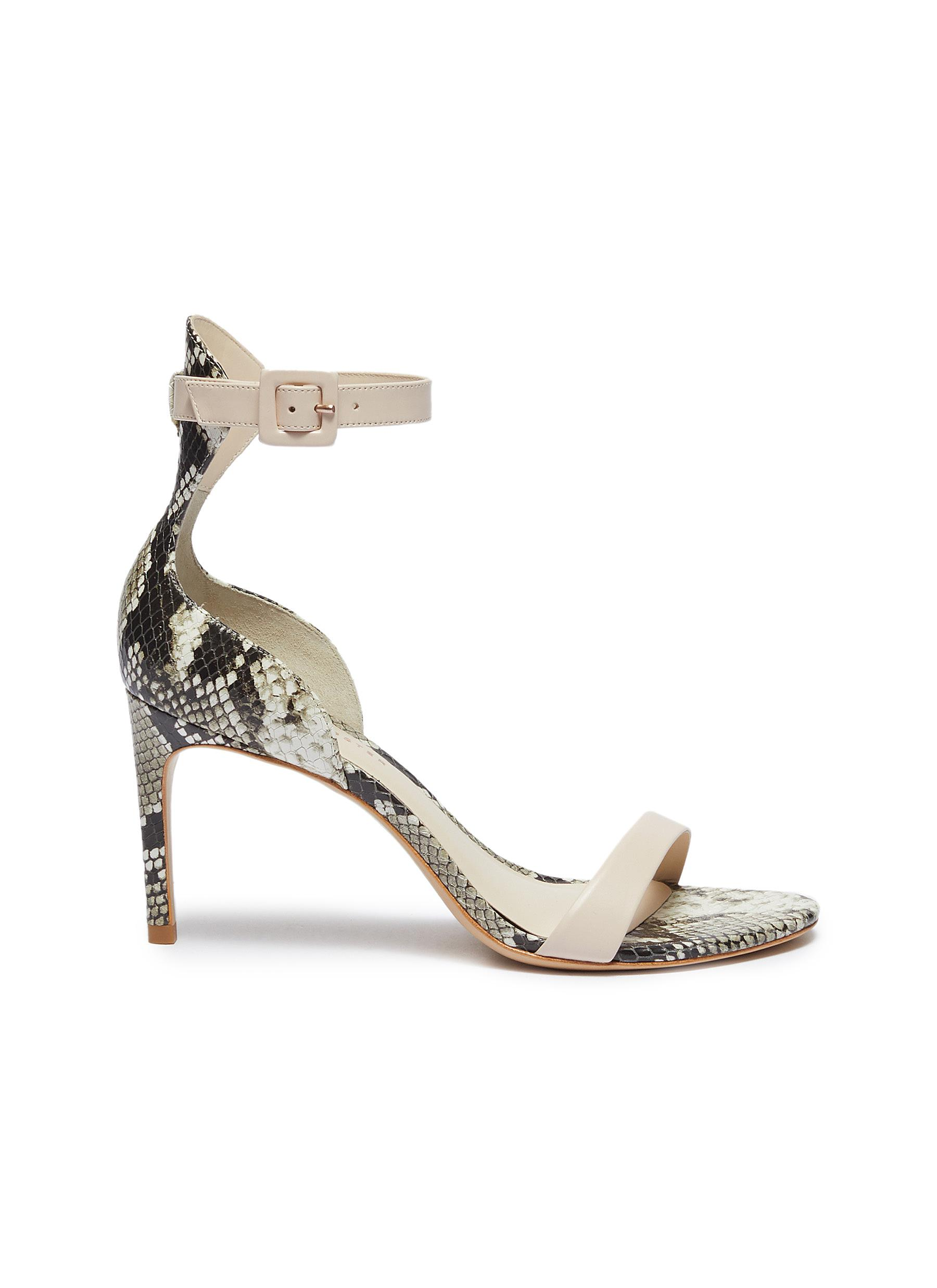 Nicole ankle strap snake embossed leather sandals by Sophia Webster