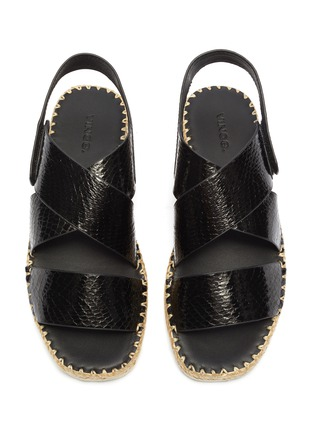 Detail View - Click To Enlarge - VINCE - 'Tension' cross strap snake embossed leather espadrille sandals