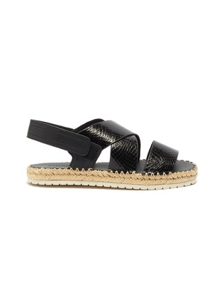 Main View - Click To Enlarge - VINCE - 'Tension' cross strap snake embossed leather espadrille sandals