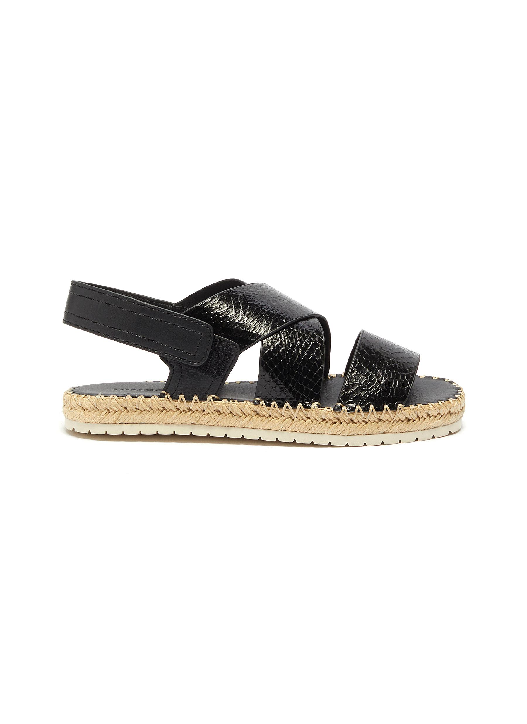 Tension cross strap snake embossed leather espadrille sandals by Vince