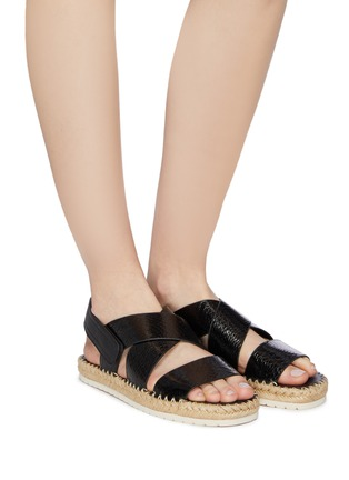 Figure View - Click To Enlarge - VINCE - 'Tension' cross strap snake embossed leather espadrille sandals