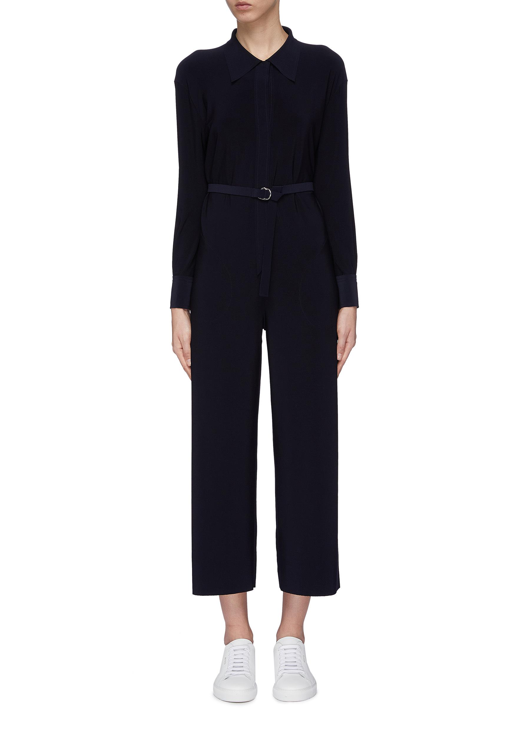 Belted cropped jumpsuit by Norma Kamali