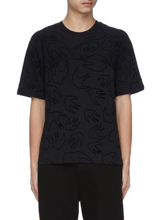 Main View - Click To Enlarge - MCQ ALEXANDER MCQUEEN - Swallow velvet flock print panelled T-shirt