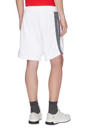 Back View - Click To Enlarge - MCQ ALEXANDER MCQUEEN - Logo jacquard stripe outseam sweat shorts