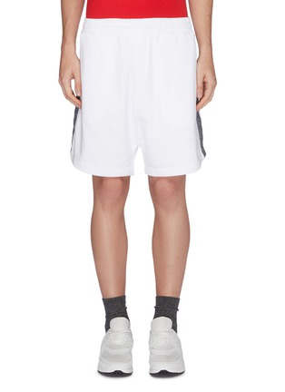 Main View - Click To Enlarge - MCQ ALEXANDER MCQUEEN - Logo jacquard stripe outseam sweat shorts
