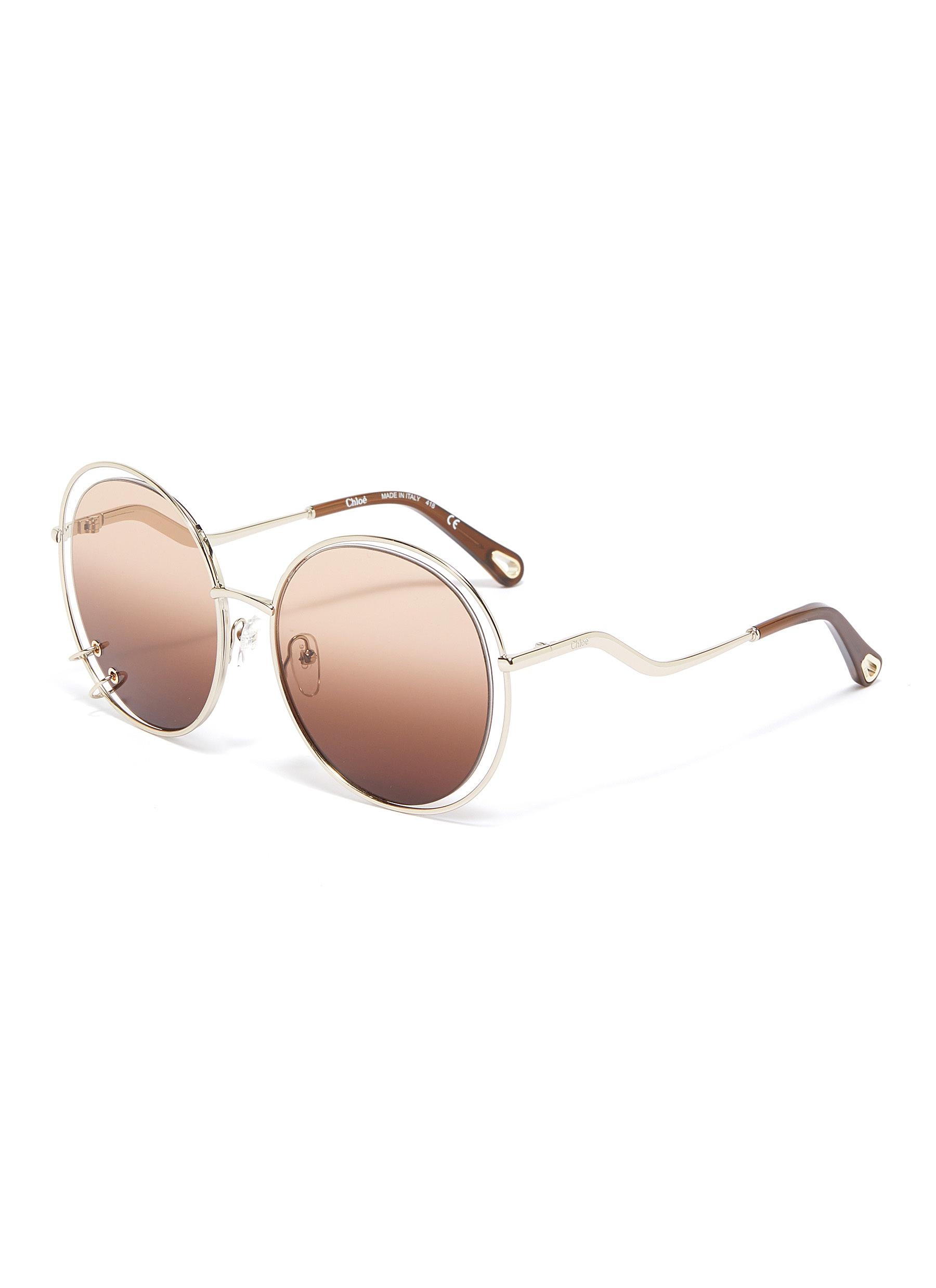 7a3e68d8c CHLOÉ | 'Carlina' cutout metal oversized round sunglasses | Women ...