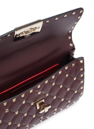 Detail View - Click To Enlarge - VALENTINO - 'Rockstud Spike' small quilted leather shoulder bag