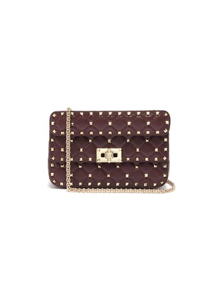Main View - Click To Enlarge - VALENTINO - 'Rockstud Spike' small quilted leather shoulder bag
