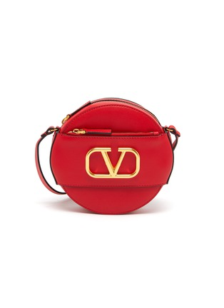 Main View - Click To Enlarge - VALENTINO - Valentino Garavani 'VLOGO' leather round crossbody bag