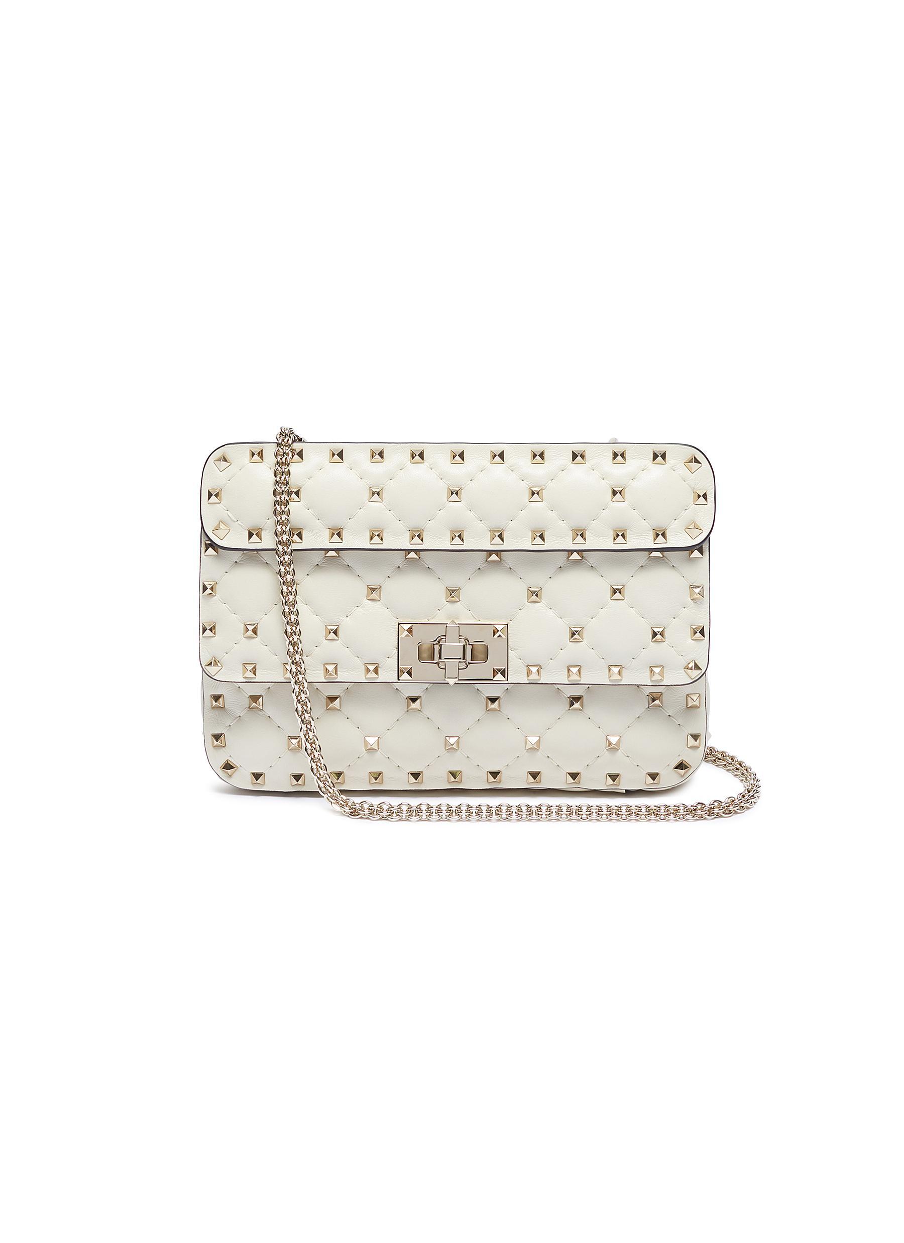 Valentino 'Rockstud Spike' Small Leather Shoulder Bag In Light Ivory