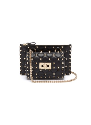 Main View - Click To Enlarge - VALENTINO - 'Rockstud Spike' mini pouch crossbody bag