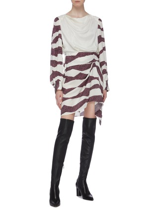 Figure View - Click To Enlarge - ISABEL MARANT - 'Rachel' drape yoke zebra stripe dress