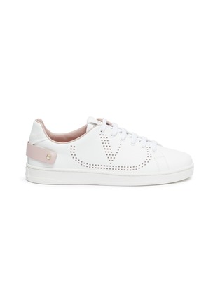 Main View - Click To Enlarge - VALENTINO - 'Backnet' perforated VLOGO leather sneakers