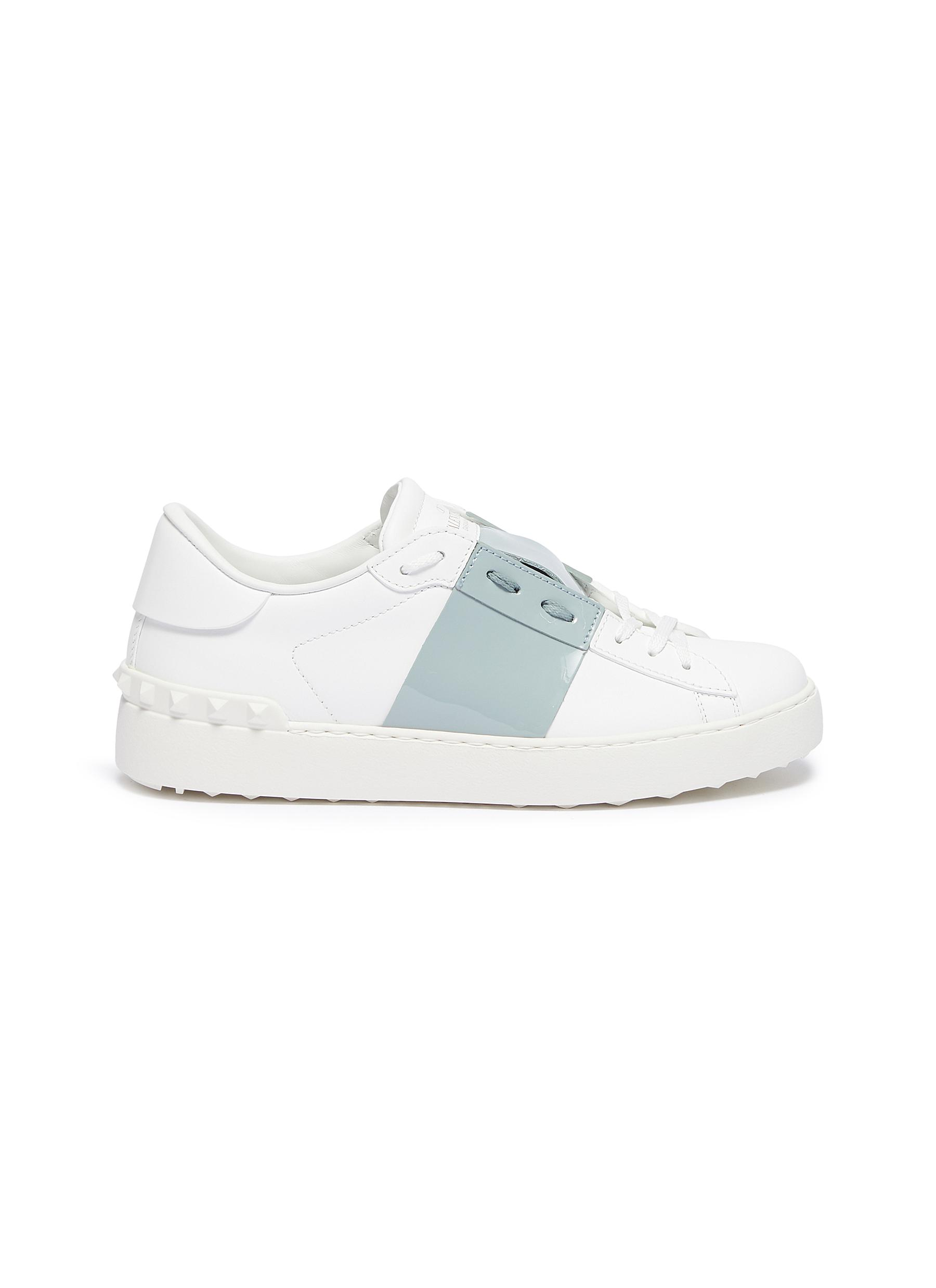 Open patent colourblocked leather sneakers by Valentino