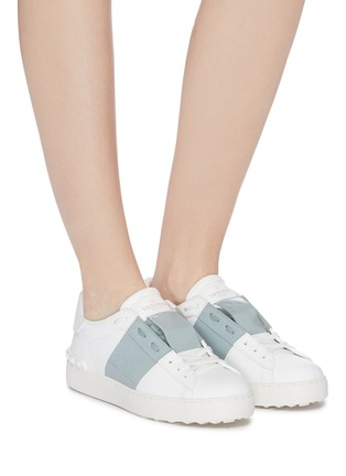 Figure View - Click To Enlarge - VALENTINO - 'Open' patent colourblocked leather sneakers