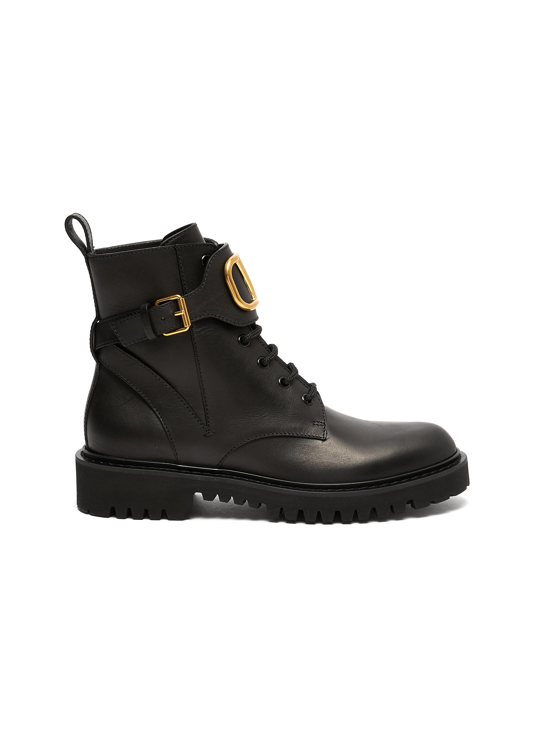 VLOGO buckle leather combat boots by Valentino