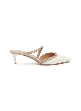 Main View - Click To Enlarge - VALENTINO - Rockstud colourblock cross strap leather mules