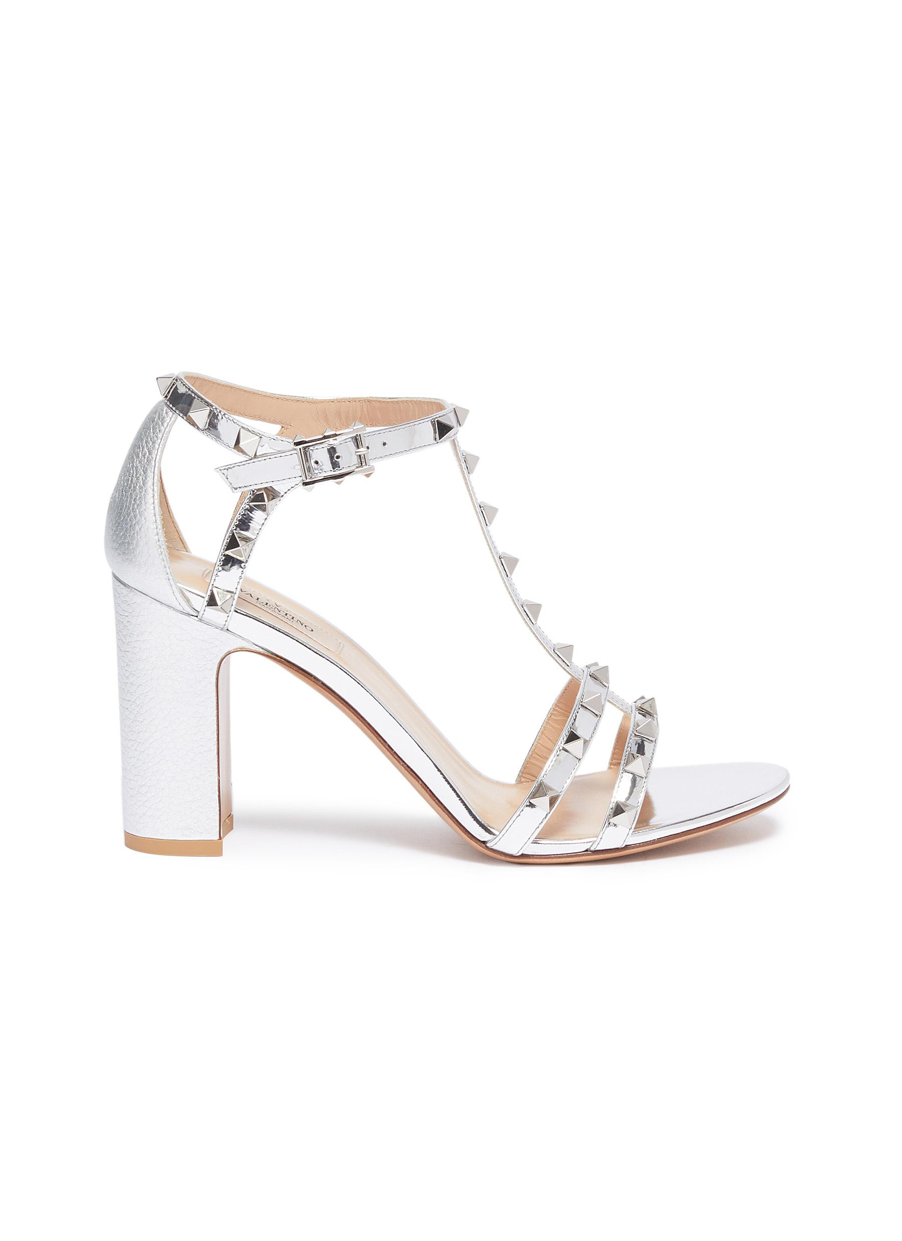 Rockstud caged metallic leather sandals by Valentino