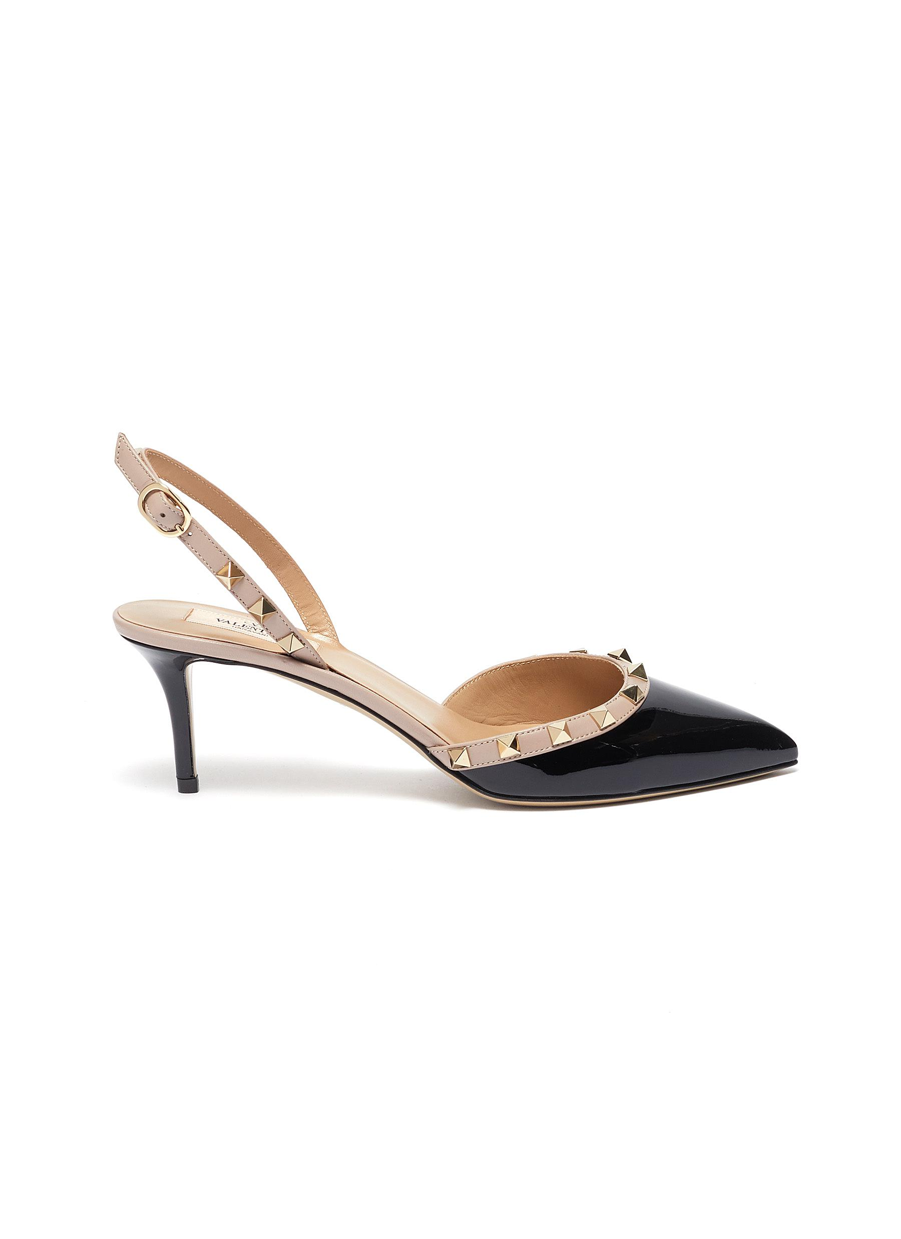 Rockstud colourblock leather slingback pumps by Valentino