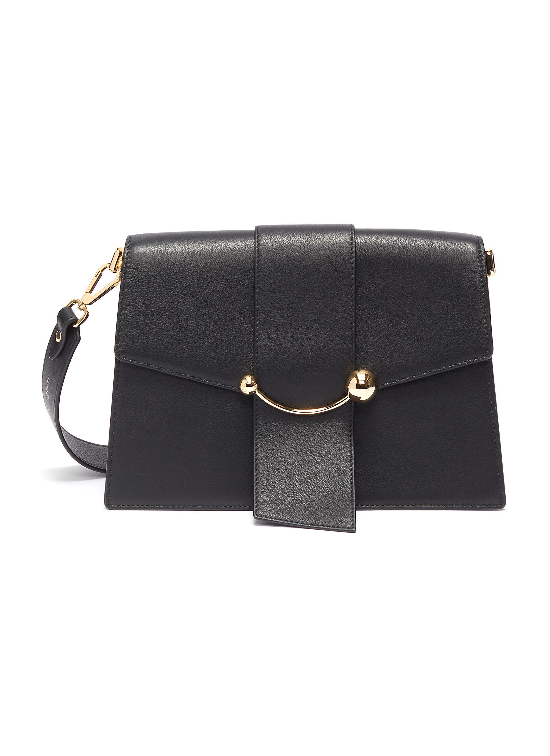 Strathberry 'crescent' Arc Bar Leather Shoulder Bag In Black