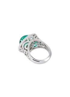 LC Collection Jewellery Diamond emerald platinum ring