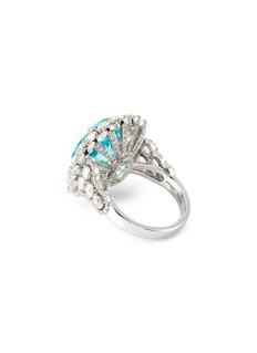 LC Collection Jewellery Diamond paraiba platinum scalloped ring