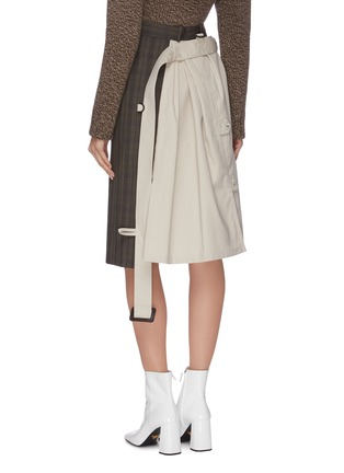 Back View - Click To Enlarge - MAISON MARGIELA - Patchwork check plaid trench midi dress