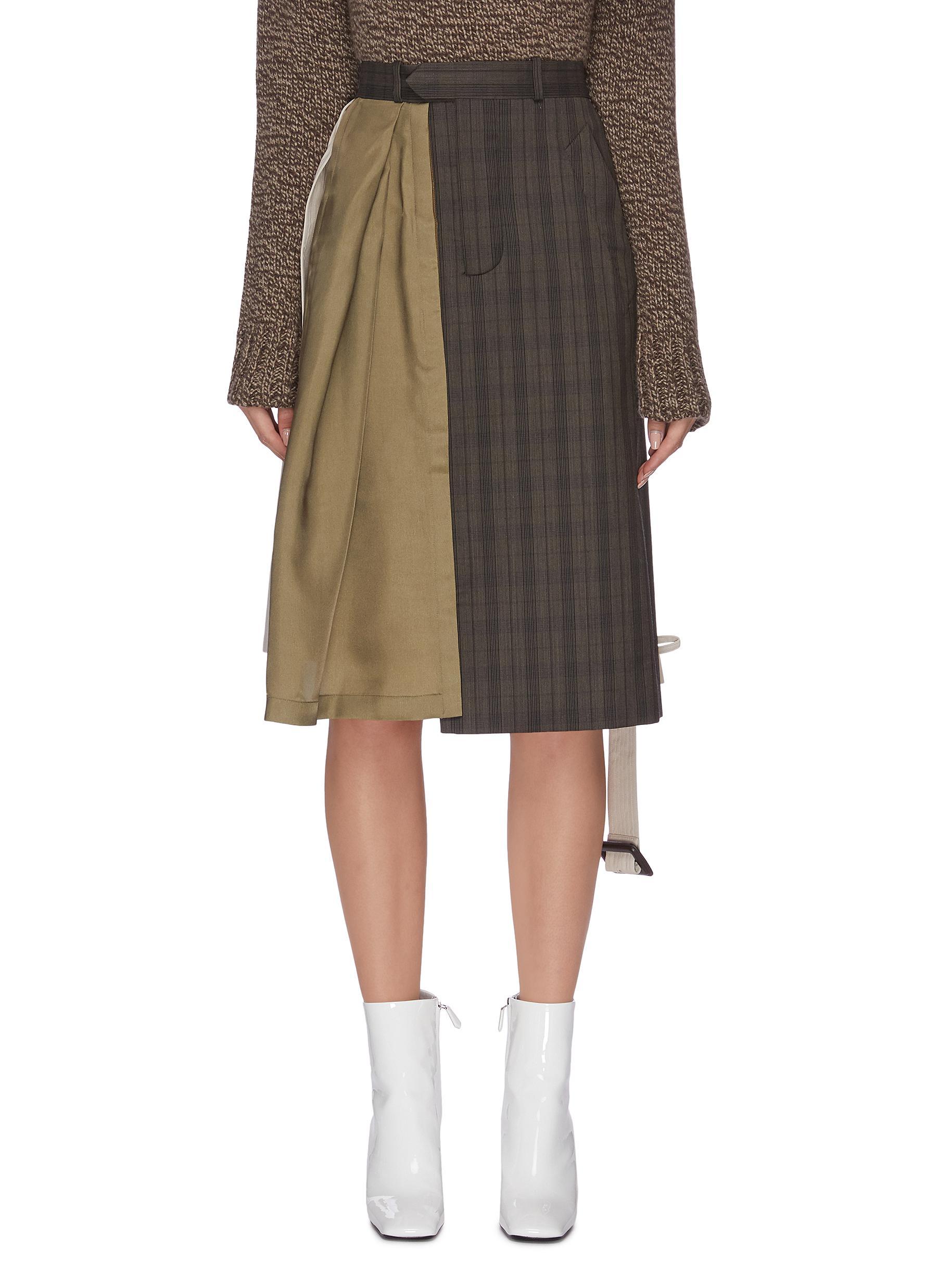 Patchwork check plaid trench midi dress by Maison Margiela
