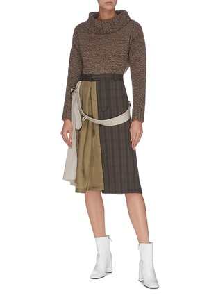 Figure View - Click To Enlarge - MAISON MARGIELA - Patchwork check plaid trench midi dress