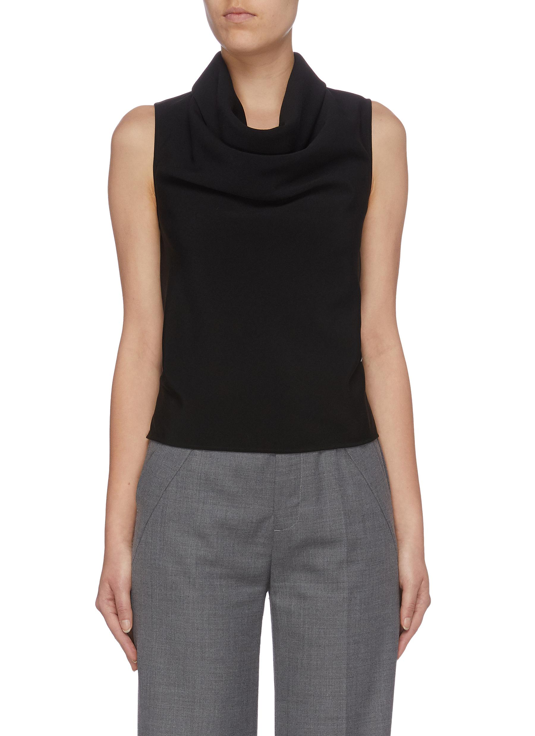 Tie open back cowl neck sleeveless top by Maison Margiela