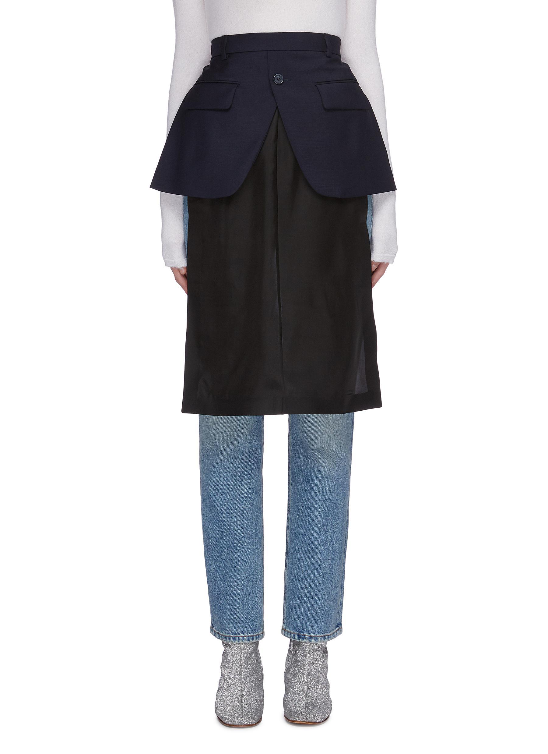 Blazer hem twill panel deconstructed skirt by Maison Margiela