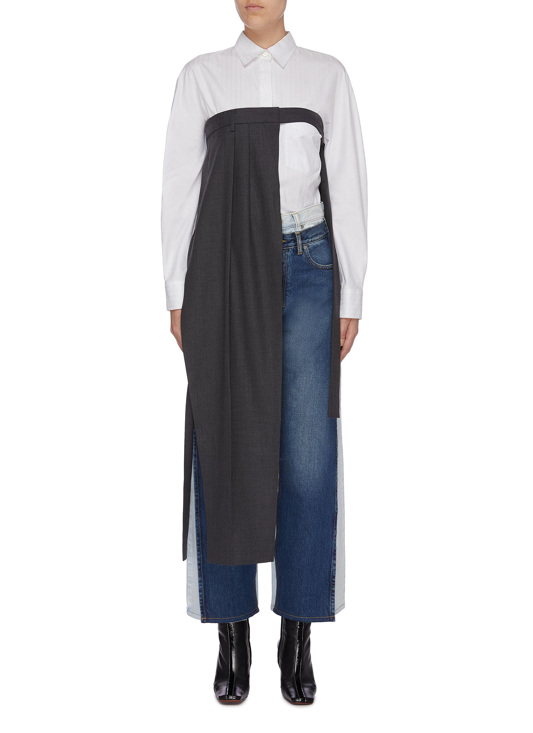 Asymmetric suiting pants panel strapless top by Maison Margiela