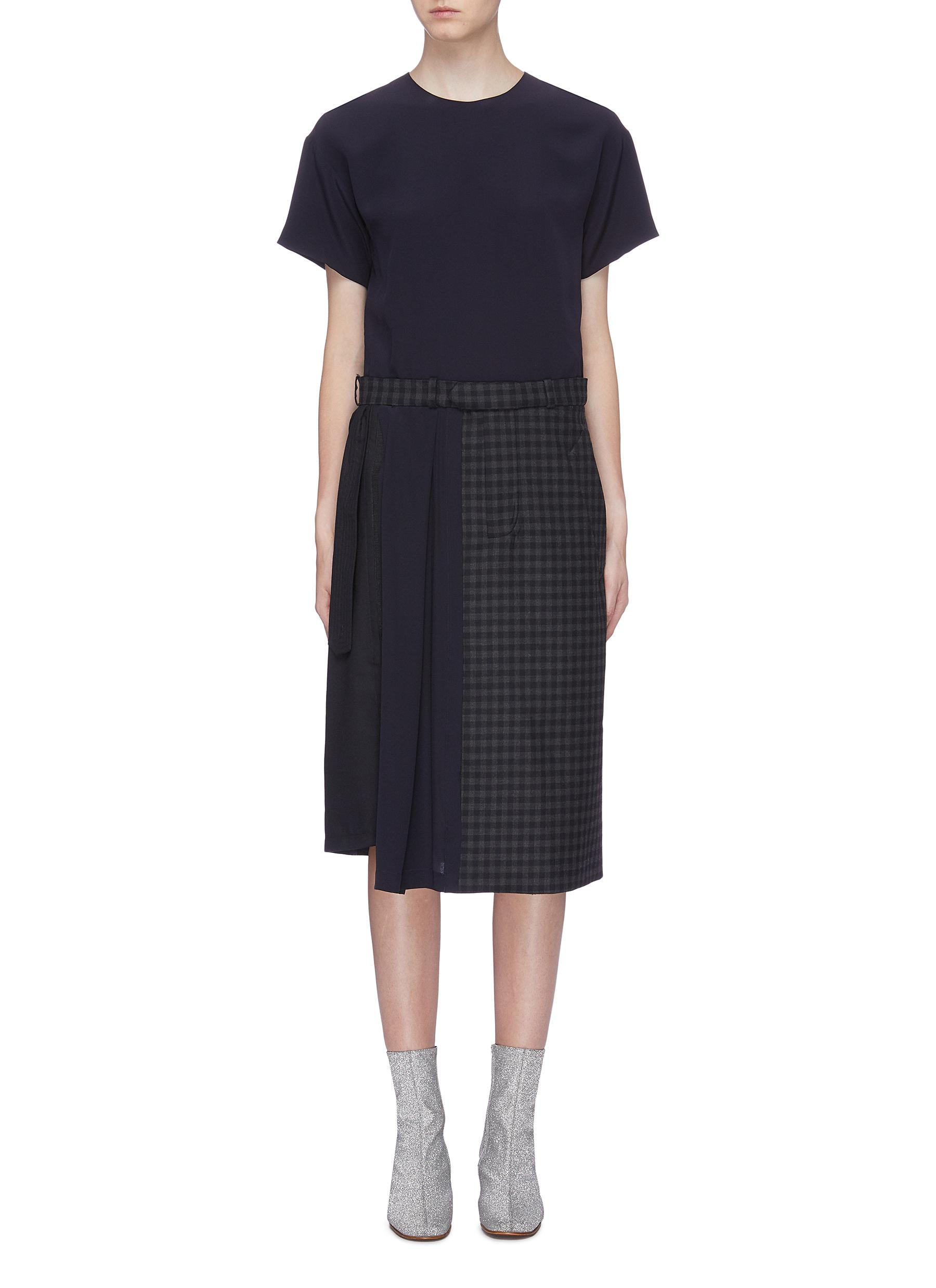 Asymmetric belted pleated panel windowpane check dress by Maison Margiela