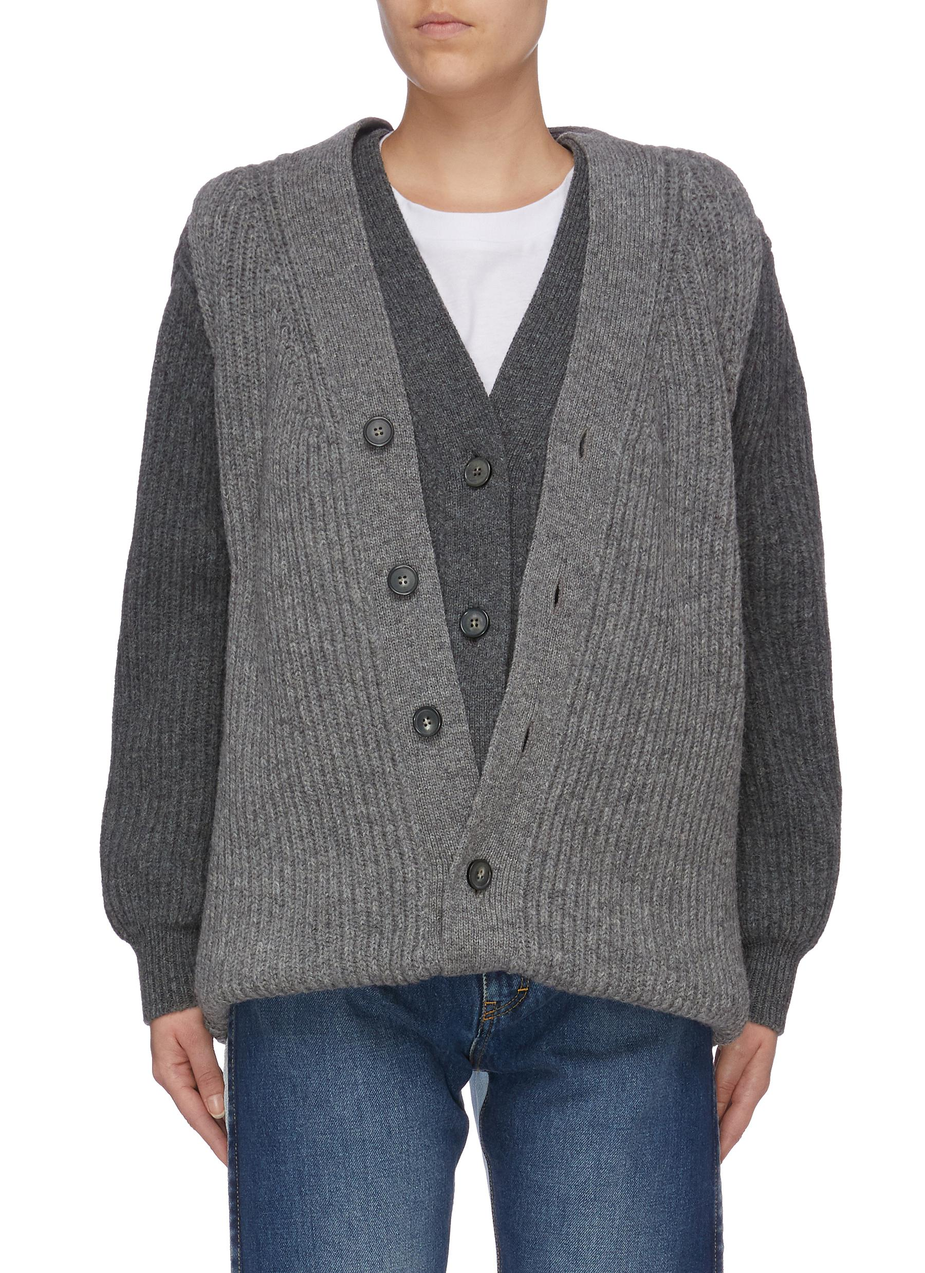 Convertible colourblock vest panel layered wool cardigan by Maison Margiela