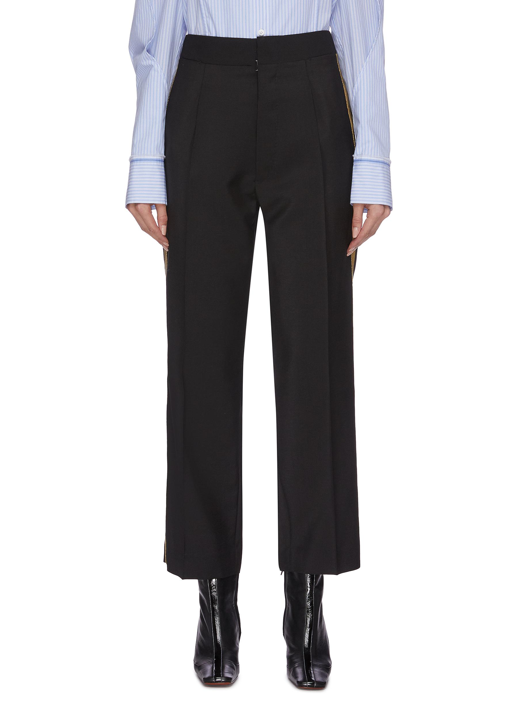 Contrast outseam pleated suiting pants by Maison Margiela