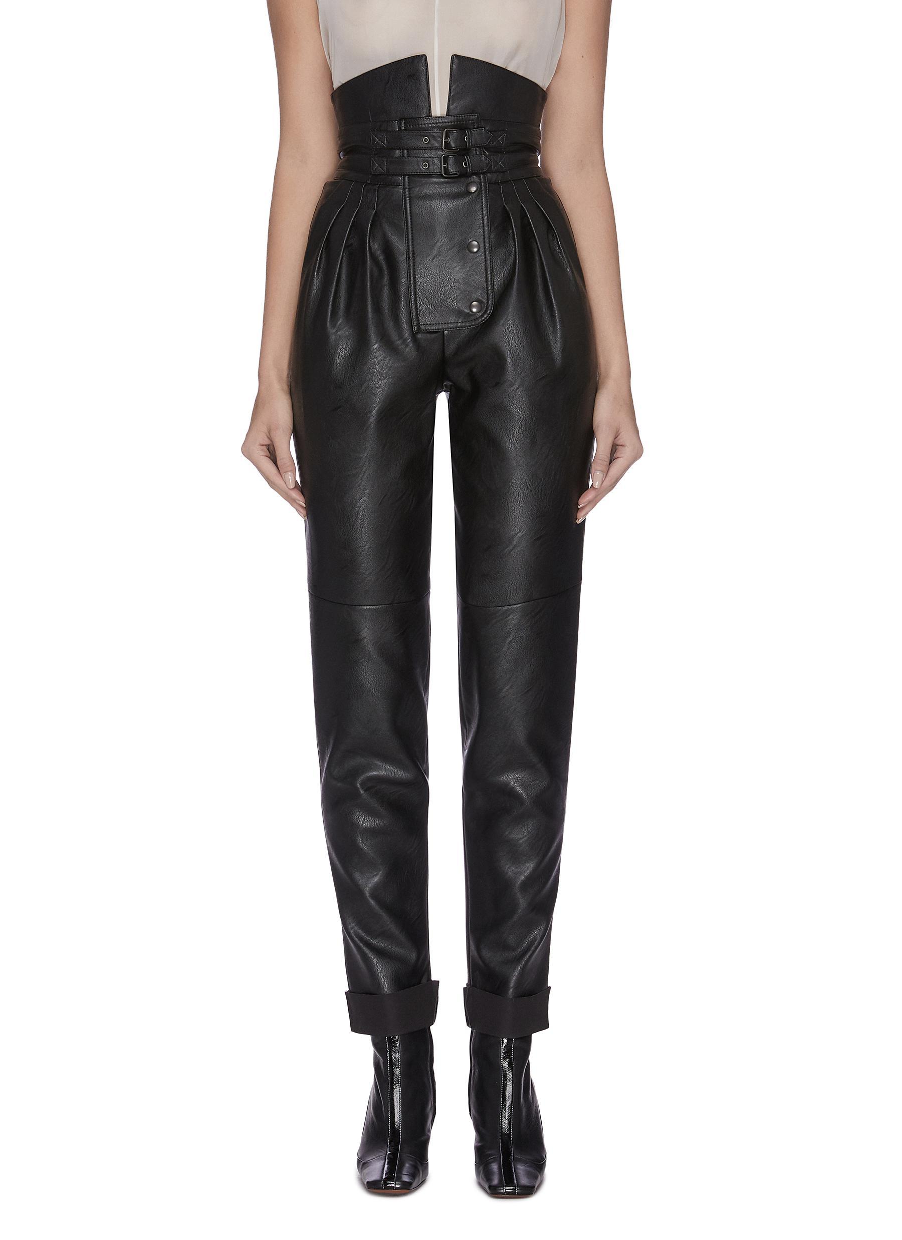 Buckle high waist pleated leather pants by Maison Margiela