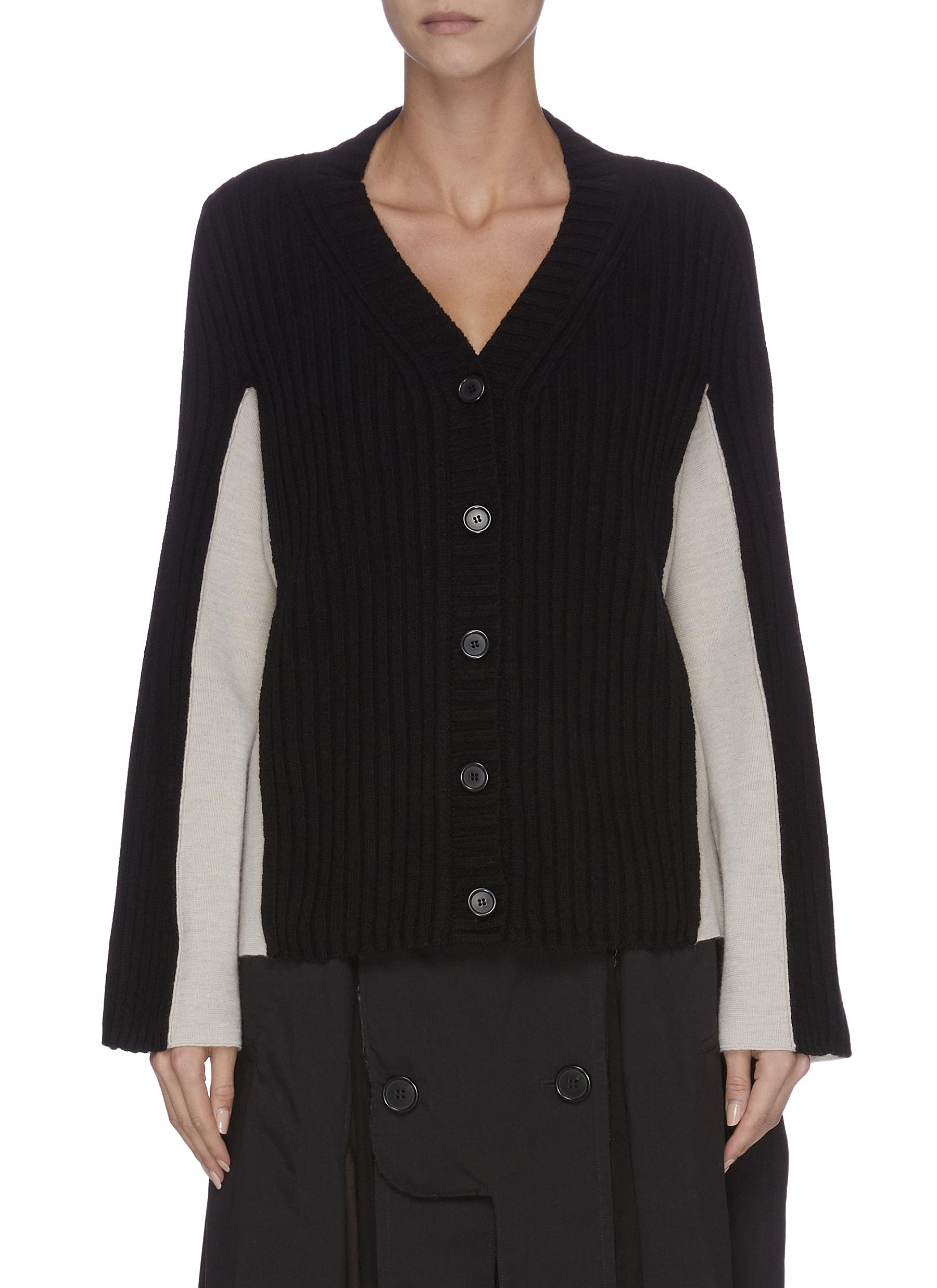 Contrast panel ribbed cardigan by Maison Margiela
